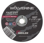 Weiler Aluminum Oxide Cutoff Wheel - Type 1 (Straight) - 60 Grit Fine Grade - 3 in Diameter - 3/8 in Center Hole - 1/16 in Thickness - 56070