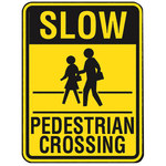 Brady B-959 Aluminum Rectangle Yellow Pedestrian & Crosswalk Sign - 18 in Width x 24 in Height - 103786
