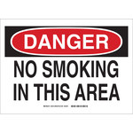 Brady B-302 Polyester Rectangle White No Smoking Sign - 14 in Width x 10 in Height - Laminated - 35910