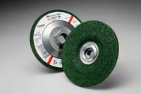 3M Green Corps Standard (Type 27) Ceramic Depressed-Center Wheel - 24 Grit - Very Coarse Grade - 4 1/2 in Diameter - 1/4 in Thick - 55960