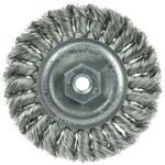 Weiler Stainless Steel Wheel Brush 0.014 in Bristle Diameter - Arbor Attachment - 4 in Outside Diameter - 13110