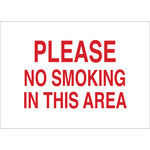 Brady B-555 Aluminum Rectangle White No Smoking Sign - 10 in Width x 7 in Height - 42716