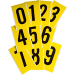 Brady 34 Series 3470-# KIT Black on Yellow Vinyl Cloth Numbers Label Kit - Indoor - 5 in Width - 9 in Height - 6 in Character Height - 34752
