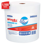 Kimberly-Clark Wypall X60 White Hydroknit Wiper - Jumbo Roll - 1100 sheets per roll - 13.4 in Overall Length - 12.5 in Width - 34955