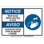Brady B-869 Rectangle White Sanitation Sign - 10 in Width x 7 in Height - Language English / Spanish - 145752