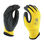West Chester Barracuda 713WHPTPD Yellow/Black Large Nylon Cold Condition Gloves - Latex Palm & Fingers Coating - 713WHPTPD/L