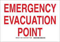 Brady B-555 Aluminum Rectangle Green Evacuation Route Sign - 10 in Width x 7 in Height - 123809