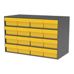 Akro-Mils Akrodrawers 120 lb Charcoal Gray Stackable Cabinet - 17 in Overall Length - 35 in Width - 22 in Height - 12, 8 Drawer - Non-Lockable - AD3517C88 YELLOW