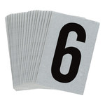 Brady Bradylite 5900-6 Black on Silver Number Label - Outdoor - 1 in Width - 1 1/2 in Height - 1 in Character Height - B-997