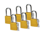Brady Yellow Aluminum 6-pin Keyed & Safety Padlock 51377 - 1 1/2 in Width - 1 3/5 in Height - 1/4 in Shackle Diameter - 2 Key(s) Included - 754476-51377