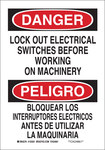 Brady B-555 Aluminum Rectangle White Lockout Sign - 7 in Width x 10 in Height - Language English / Spanish - 125259