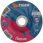 Weiler TIGER Aluminum Oxide Cutting Wheel - Type 27 - Depressed Center Wheel - 60 Grit - 5 in Diameter - 7/8 in Center Hole -.045 in Thick - 57043