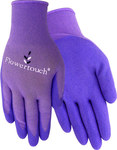 Red Steer Flowertouch A207 Purple Large Nylon Work Gloves - Latex Palm Only Coating - Smooth Finish - A207-L