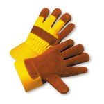 West Chester 558Y Yellow Large Split Cowhide Leather Work Gloves - Wing Thumb - 10.5 in Length
