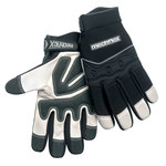Chicago Protective Apparel Mechflex Black/White Large Goatskin Leather Mechanic's Gloves - MX-55 LG