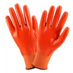 West Chester 715SNFFO Orange Large Nylon Work Gloves - Nitrile Full Coverage Except Cuff Coating - 8.7 in Length - 715SNFFO/L