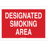 Brady B-302 Polyester Rectangle Red Smoking Area Sign - 10 in Width x 7 in Height - Laminated - 88411