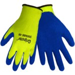 Global Glove Gripster 300NBE Blue/High-Visibility Yellow Large Polyester Work Gloves - Rubber Palm Only Coating - 300NBE LG/LG