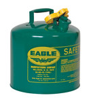 Eagle Green Galvanized Steel Self-Closing 5 gal Safety Can - 13 1/2 in Height - 12 1/2 in Overall Diameter - 048441-00356