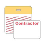 Brady Securalert Yellow Identification Label 95655 - Printed Text = CONTRACTOR - Clip - 3 in Width - 3 in Length - 754476-95655
