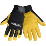 Global Glove Gripster SG2008 Black/Yellow Large Goatskin Leather/Rubber/Spandex Mechanic's Gloves - SG2008/LG