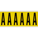 Brady 34 Series 3450-A Black on Yellow Vinyl Cloth Letter Label - Indoor - 1 1/2 in Width - 3 1/2 in Height - 2 15/16 in Character Height - B-498