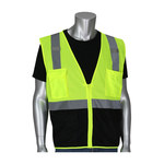 PIP 302-0710B Lime Yellow/Black Large Polyester Mesh High-Visibility Vest - 4 Pockets - 616314-24347