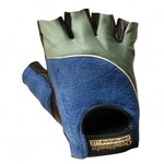Occunomix 422 Blue & Grey Large Spandex/Terry Cloth Work Gloves - Leather Knuckles Coating - 422-064