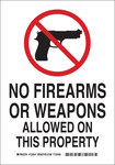 Brady B-555 Aluminum Rectangle White Weapon Control Sign - 7 in Width x 10 in Height - 123539