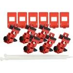 Brady TAGLOCK Red Fiberglass Reinforced Nylon/Polypropylene Circuit Breaker Lockout Device 148698 - Clamp-On - 1 breaker slots - 1.064 in Width - 1.272 in Height - 754473-58181