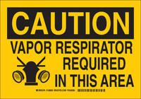 Brady B-555 Aluminum Rectangle Yellow Respirator Sign - 10 in Width x 7 in Height - 128604