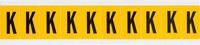 Brady 15 Series 1530-K Black on Yellow Vinyl Letter Label - Indoor / Outdoor - 7/8 in Width - 1 1/2 in Height - 1 in Character Height - B-946