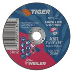 Weiler Tiger Zirc Aluminum Oxide Cutting Wheel - Type 1 - Straight Wheel - 36 Grit - T Grade - 2 in Diameter - 3/8 in Center Hole - 1/8 in Thick - 57012