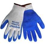 Global Glove Gripster 300 Blue/Gray 9 Cotton/Polyester Work Gloves - Rubber Palm & Fingers Coating - Rough Finish - 300/9