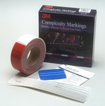 3M Diamond Grade 983 PN Red / White Reflective Conspicuity Tape - 2 in Width - 0.014 to 0.018 in Thick - 06398