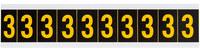 Brady 7890-3 Yellow on Black Vinyl Number Label - Indoor / Outdoor - 7/8 in Width - 1 1/2 in Height - 1 in Character Height - B-946
