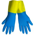 Global Glove 244 Blue/Yellow Large Latex Work Gloves - Neoprene Coating - 244/LG