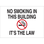 Brady B-555 Aluminum Rectangle White No Smoking Sign - 20 in Width x 14 in Height - 141971