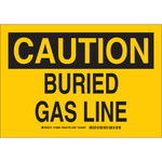 Brady B-555 Aluminum Rectangle Yellow Buried Gas Line Sign - 10 in Width x 7 in Height - 126864