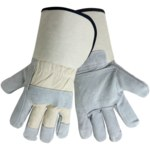 Global Glove 2250GCDP Gray XL Split Cowhide Canvas/Leather Work Gloves - 2250GCDP/XL