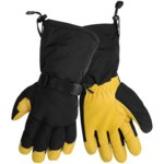 Global Glove SG7300INT Black/Yellow Large Deerskin Leather Mechanic's Gloves - SG7300INT/LG