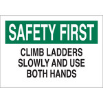 Brady B-555 Aluminum Rectangle White Fall Prevention Sign - 10 in Width x 7 in Height - 42588