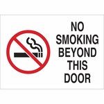 Brady B-302 Polystyrene Rectangle White No Smoking Sign - 14 in Width x 10 in Height - 141920