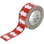 Brady 106168 White on Red Directional Flow Arrow Tape - 2 in Width - 30 yd Length - B-302