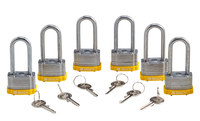 Brady Yellow Steel 5-pin Keyed & Safety Padlock 118982 - 1 5/16 in Width - 1 1/5 in Height - 17/64 in Shackle Diameter - 1 Key(s) Included - 754473-66221