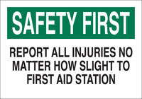 Brady B-302 Polyester Rectangle White First Aid Sign - 10 in Width x 7 in Height - Laminated - 85333