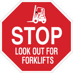 Brady B-555 Aluminum Octagon Red Truck & Forklift Warehouse Traffic Sign - 24 in Width x 24 in Height - 124512