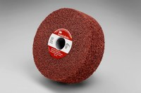 3M Scotch-Brite Aluminum Oxide Surface Grinding Wheel - Medium Grade - 6 in Diameter - 1 1/4 in Center Hole - 2 in Thick - 30010