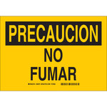 Brady B-401 Polystyrene Rectangle Yellow No Smoking Sign - 14 in Width x 10 in Height - Language Spanish - 38970