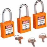 Brady Orange Nylon Steel 6-pin Keyed & Safety Padlock 123268 - 1 1/2 in Width - 1 3/4 in Height - 1/4 in Shackle Diameter - 1 Key(s) Included - 754473-72021